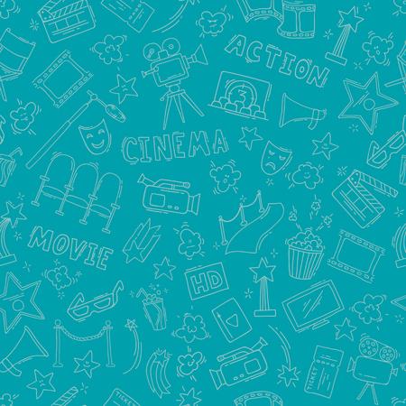 Cinema seamless pattern with hand drawn elements Illustration