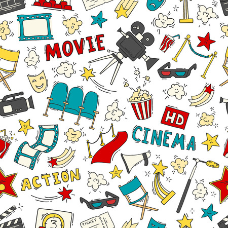 Cinema seamless pattern with hand drawn elements Ilustrace