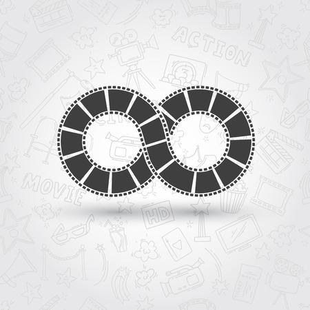 infinite: Infinite strip of film. Conceptual logo. Seamless pattern Illustration