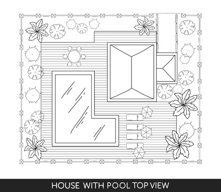 Landschap Plan van het huis met zwembad, meubilair en bomen in bovenaanzicht