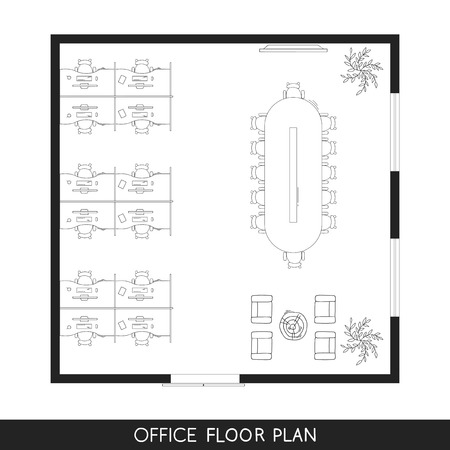 Office interior project top view plan Ilustrace