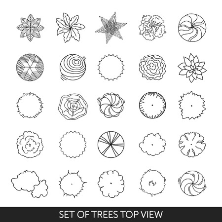 Set of trees. Top view Vectores