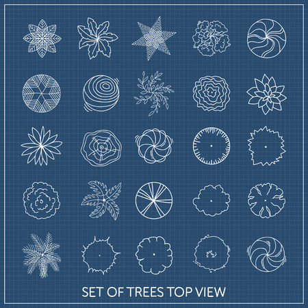 Set of trees. Top view Ilustrace