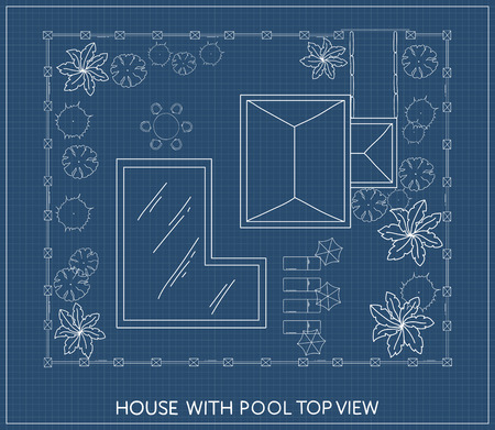 Landscape Plan of the house with swimming pool, furniture and trees in top view