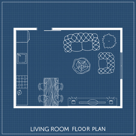 Architectural Plan with furniture in top view Ilustrace