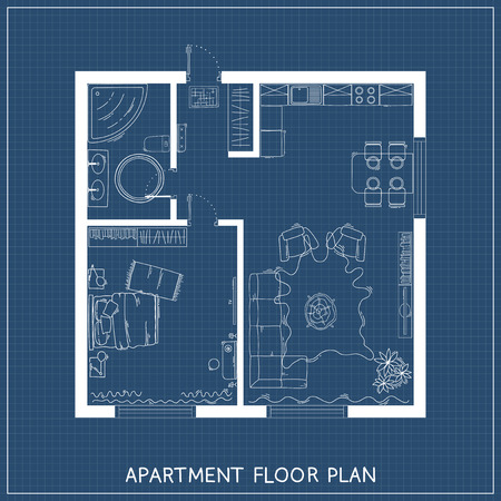 Architectural blueprint with furniture in top view Reklamní fotografie