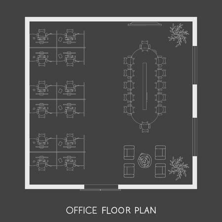 Office interior project top view plan Reklamní fotografie
