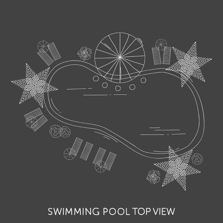 Swimming pool Top View Reklamní fotografie - 72064248