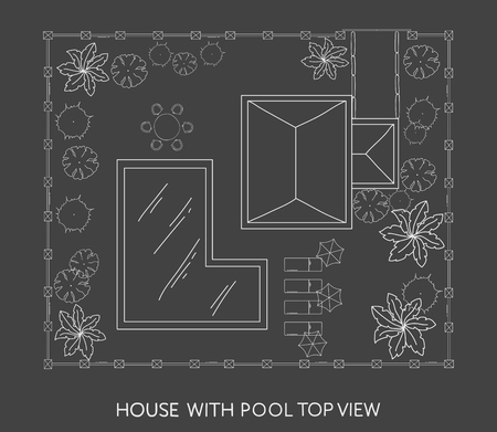 patio furniture: Landscape Plan of the house with swimming pool, furniture and trees in top view