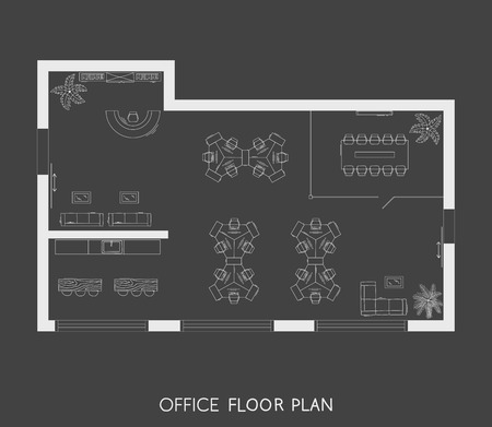 Office interior project top view plan Zdjęcie Seryjne