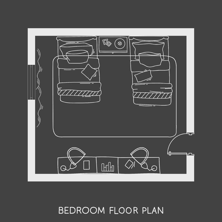 Architectural Plan with furniture in top view Reklamní fotografie