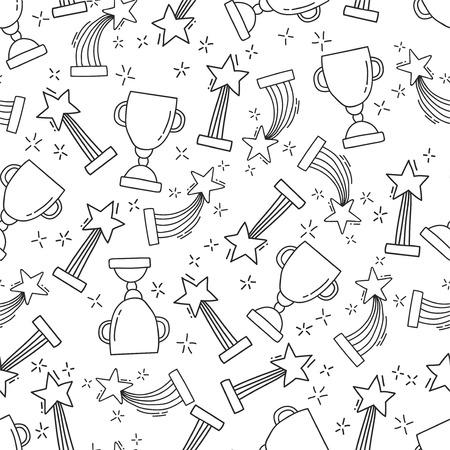 손으로 그린 상을 가진 원활한 패턴입니다. 첫 번째 장소에 컵과 트로피의 아이콘을 스케치하십시오. 승자를위한 상. 벡터 일러스트 레이 션. 일러스트