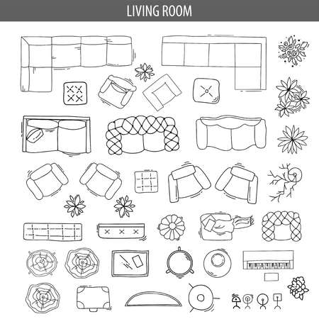 Set of linear icons for Interior top view plans Reklamní fotografie - 83392327