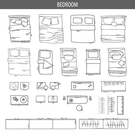 Set of linear icons for Interior top view plans