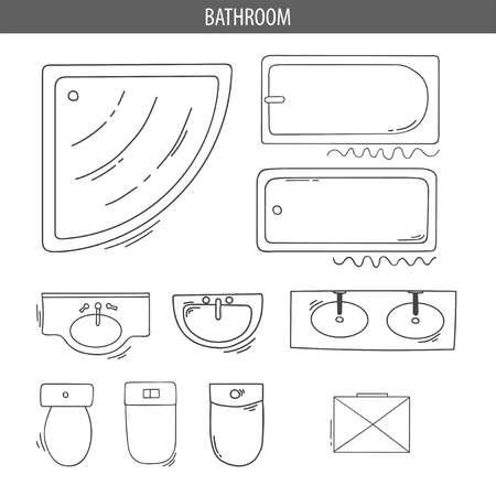 인테리어 톱뷰 계획을위한 선형 아이콘 세트