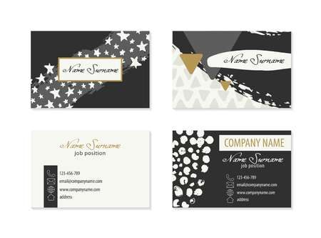 Set of Business Cards with hand drawn elements