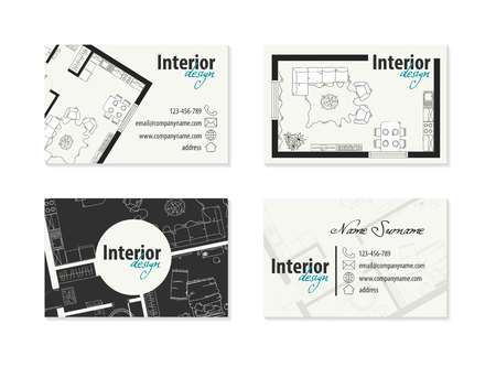 business card for an architect Vectores
