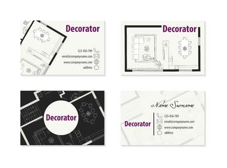 business card for an architect Ilustracja