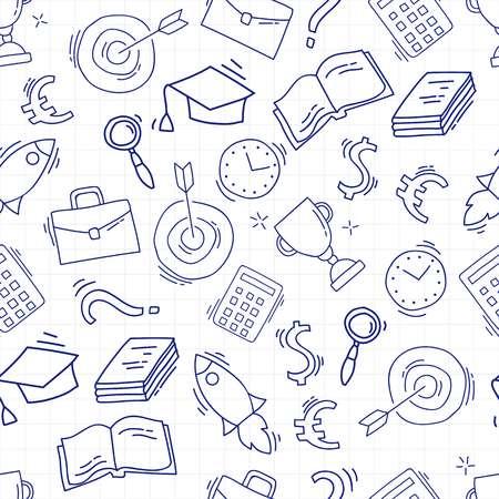 손으로 그려진 된 연구 패턴 학교 액세서리와 함께. 일러스트