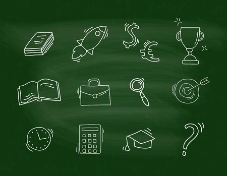 Set of Hand Drawn School icons isolated on the blackboard. Doodle vector illustration. Back to school. Ilustracja