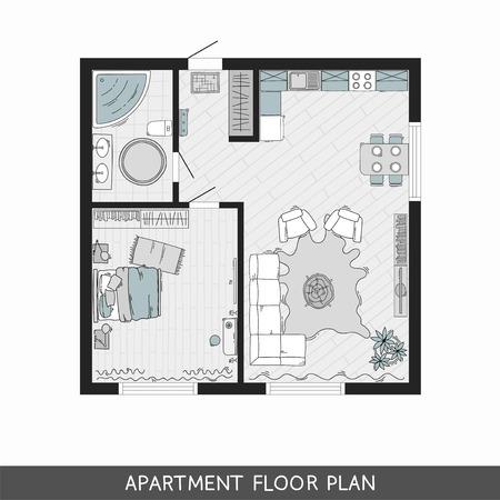 최상층에 손으로 그린 가구가있는 침실 1 개짜리 아파트입니다. 벡터 일러스트 레이 션 일러스트