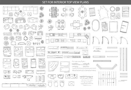 Big set of icons for Interior top view plans 矢量图像