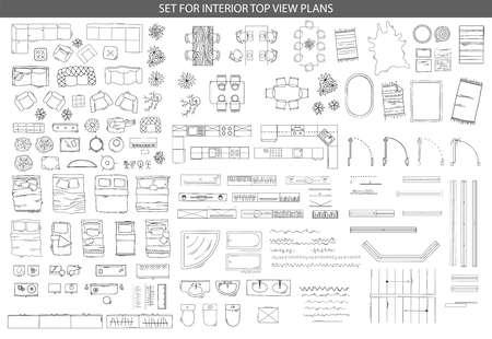 Grand ensemble d'icônes pour les plans de vue de l'intérieur Vecteurs