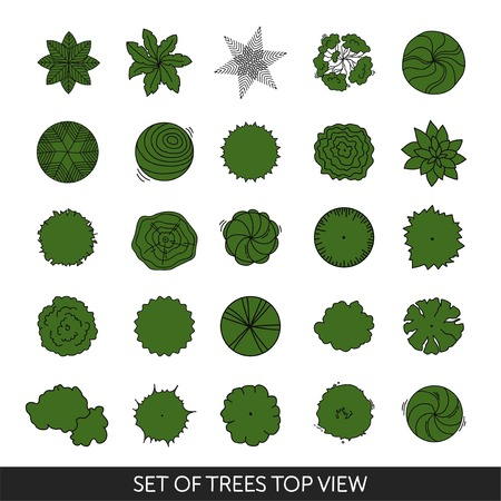 Set of trees. Top view Ilustracja