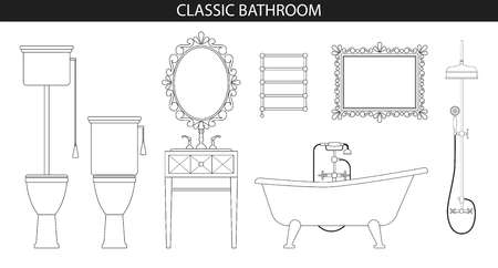 mirror frame: Classic old style furniture for the bathroom.