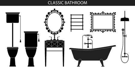 욕실에 대한 고전적인 스타일의 가구. 일러스트