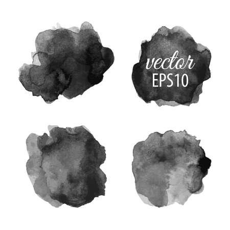 Set of abstract black ink blots Ilustracja