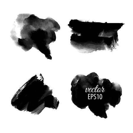Set of abstract black ink blots.