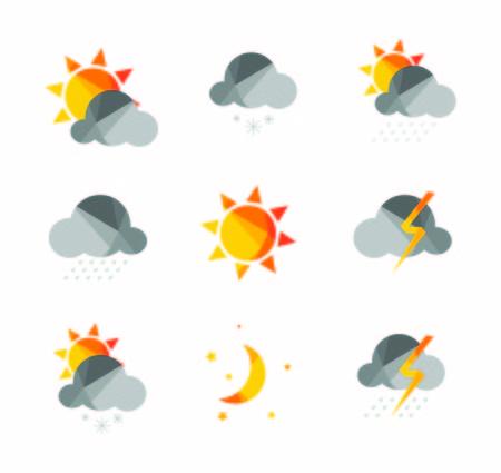 날씨 아이콘은 다각형의 기하학적 스타일로 설정됩니다.