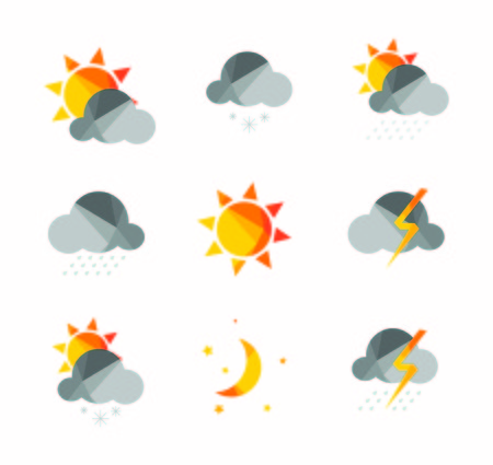 Weather icons set in polygonal geometric style. Ilustracja