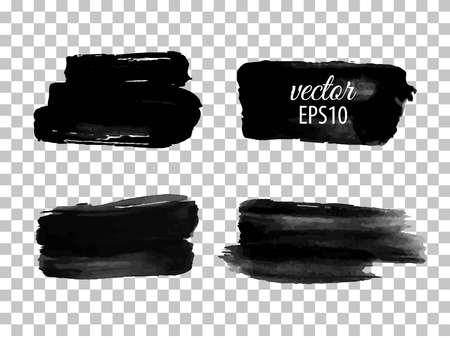 Set of abstract black ink blots. Isolated on white background. Vector illustration. Watercolor stain. Aquarelle, paint blotch. Speech bubble Ilustracja