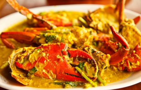 fried crab curry in meal time 版權商用圖片