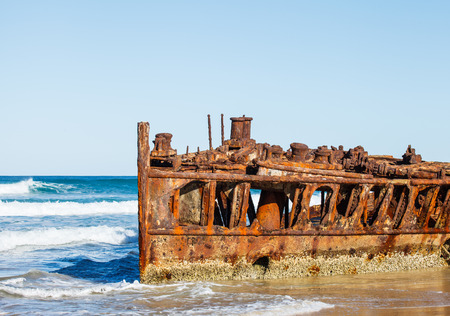 shipwreck: Shipwreck on the beach in queensland Austaralia