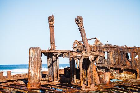 beached: Shipwreck on the beach in queensland Austaralia