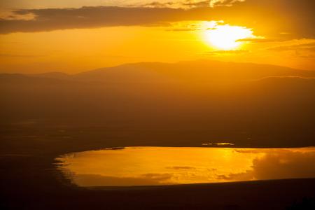 africa sunset: sunset in wild ngorongoro Africa