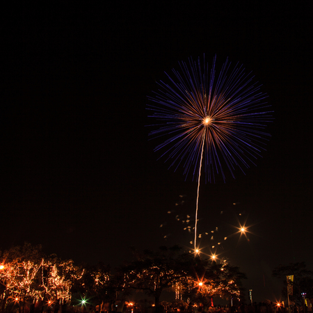 fireworks at night in Bangkok Stock Photo