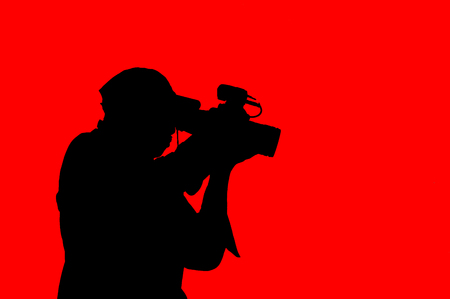vdo: clipart photographer on red background Stock Photo