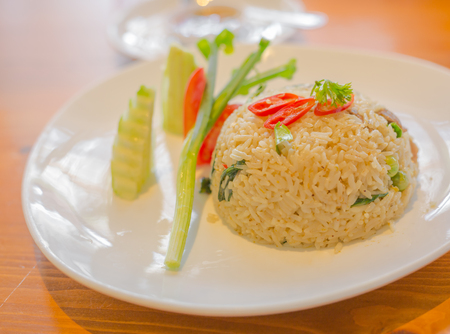 meal time: fried rice with meat on meal time Stock Photo