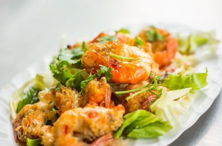 meal time: Stir-fried shrimp with garlic Thai food for meal time