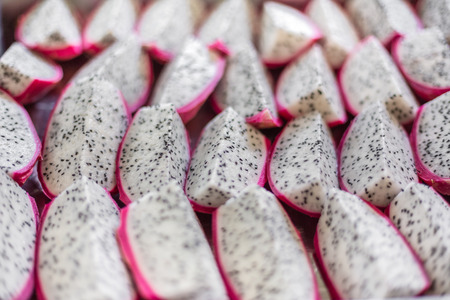 refers: while pitahaya or dragon fruit refers to fruit of the genus Hylocereus. Stock Photo