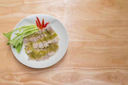 meal time: steamed pork with chilli sauce for appetizer or meal time