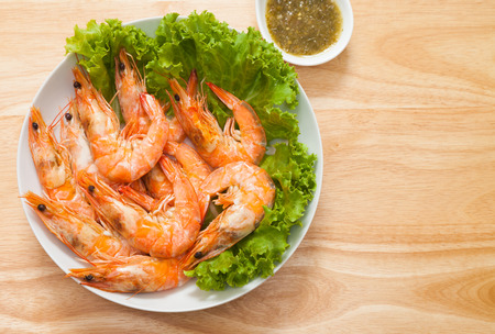 meal time: Baked Salted Prawns is sea food for appetizer or meal time