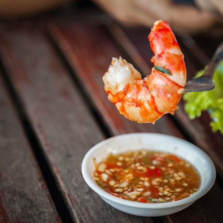 fried prawns with spicy sauce for meal time.