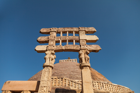 The Great Stupa at Sanchi is the oldest stone structure in India[1] and was originally commissioned by the emperor Ashoka in the 3rd century BCE.