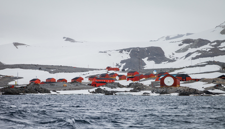 researchers village on the island in antarctica.