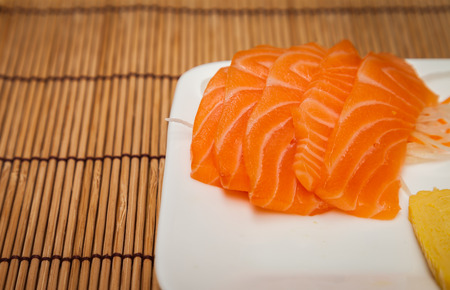 Fresh salmon in Japanese food.